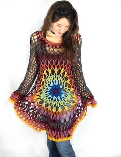 Floral Mandala Sweater Crochet Pattern by Morale Fiber
