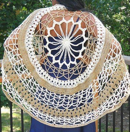 Flower Mandala Circle Poncho Crochet Pattern by Creations By Courtney