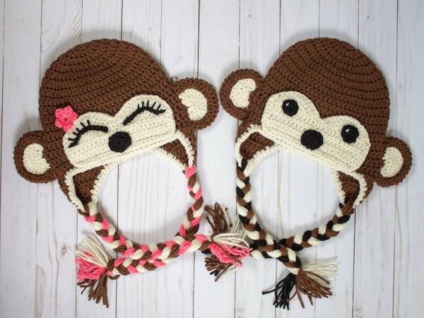 Free Crochet Monkey Hat Pattern by The Friendly Red Fox