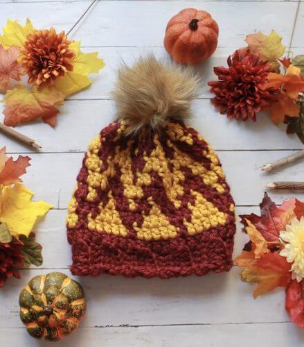 Free Tapestry Crochet Beanie Pattern by E'Claire Makery