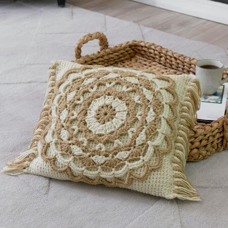 Fringed Mandala Pillow Crochet Pattern by Red Heart