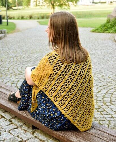 Golden Rod Shawl Free Crochet Pattern by My Crochetory