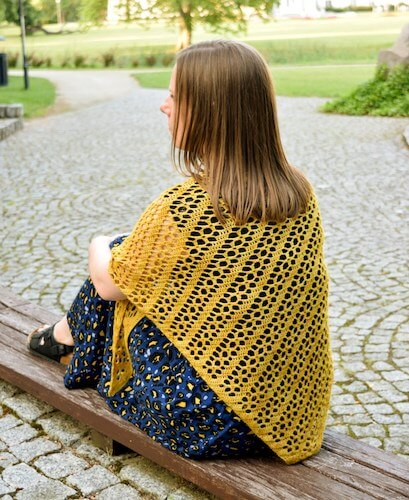 Goldenrod Shawl Free Crochet Pattern by My Crochetory