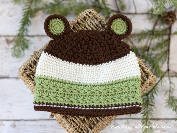 Grizzly Mountain Crochet Baby Hat Pattern by Kirsten Holloway Designs