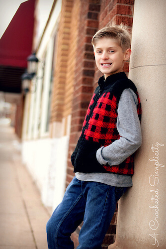 Kid's Plaid Zipper Front Vest Crochet Pattern by A Crocheted Simplicity
