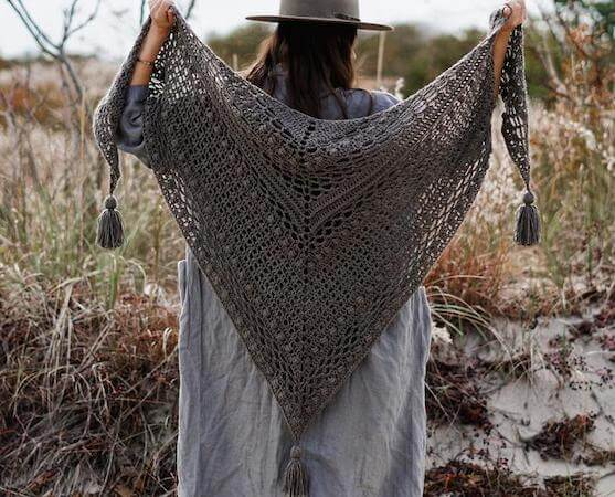 Lace Bobble Triangle Shawl Crochet Pattern by Two Of Wands
