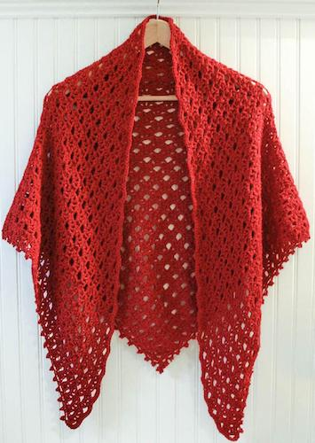 Lace Shawl With Beading Edging Crochet Pattern by Petals To Picots