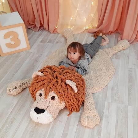 Lion Baby Rug Crochet Pattern by Clouds By Iris
