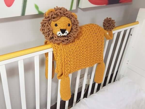 Lion Folding Baby Blanket Crochet Pattern by Crafting Happiness UK