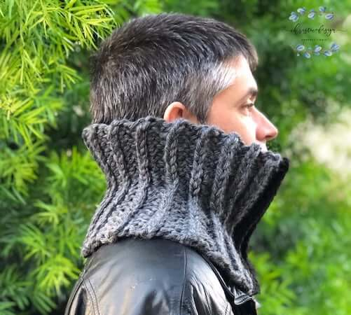 Men's Ribbed Cowl Crochet Pattern by Christa Co Design