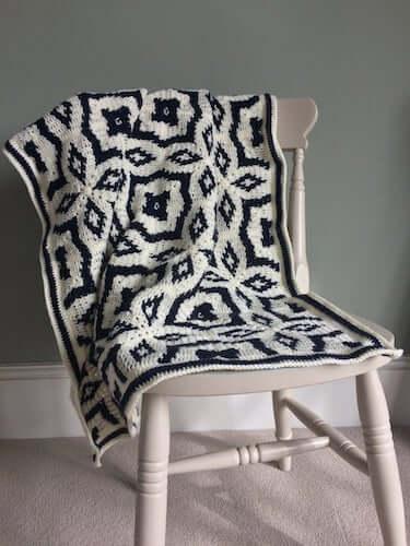 Midnight Diamond Blanket Crochet Pattern by Catherine Crochets
