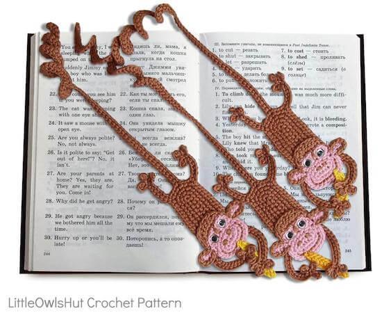 Monkey Bookmark Crochet Pattern by Little Owls Hut