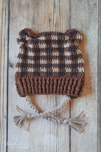Plaid Crochet Woodland Bear Hat Pattern by Whistle And Ivy