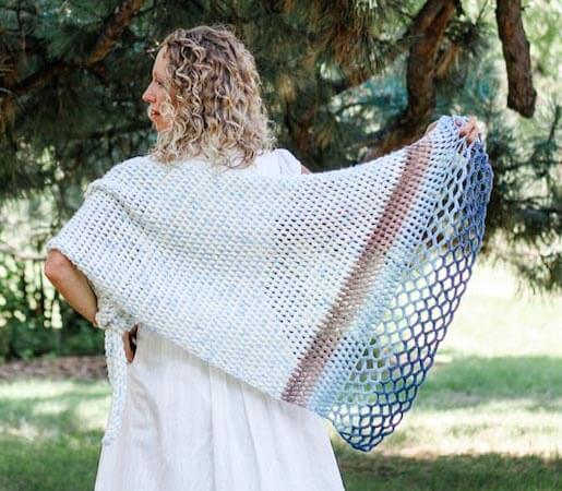Rising Tide Asymmetrical Shawl Crochet Pattern by Make And Do Crew
