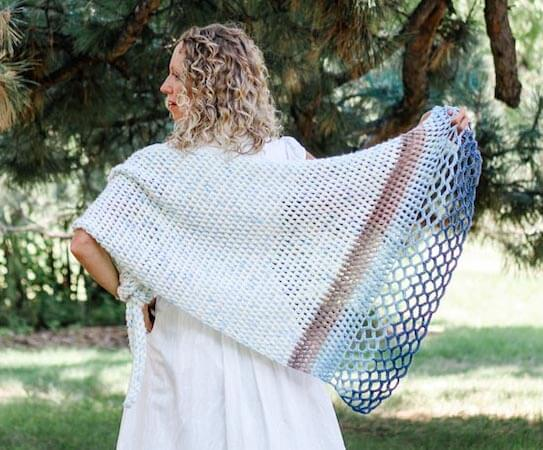 Rising Tide Asymmetrical Crochet Triangle Shawl Free Pattern by Make And Do Crew