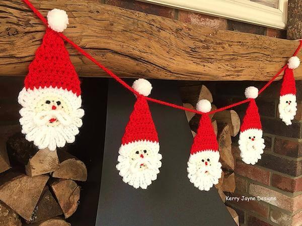 Santa Christmas Garland Crochet Pattern by Kerry Jayne Designs
