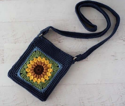Sassy Sunflower Crochet Crossbody Bag Pattern by Crochet 365 Knit Too