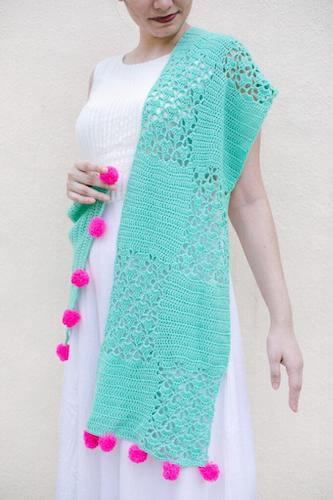 Seafoam Crochet Lace Shawl Pattern by Bella Coco Crochet