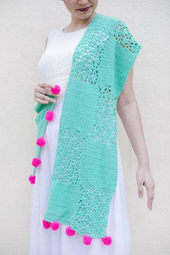 Seafoam Crochet Lace Shawl Pattern by Bella Coco Crochet