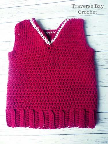 Simple Crochet Toddler Boy Vest Pattern by Traverse Bay Crochet