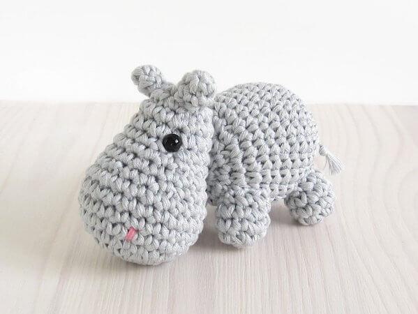 Small Hippo Free Crochet Pattern by Kristi Tullus