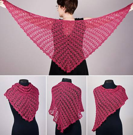 Sweetheart Lace Shawl Crochet Pattern by Planet June