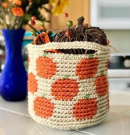 Tapestry Crochet Pumpkin Basket Pattern by Desert Blossom Crafts