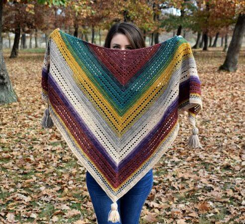 Warlock Triangle Shawl Crochet Pattern by Passionate Crafter