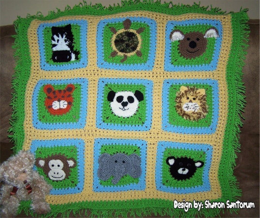 A Day at the Zoo Crochet Baby Afghan or Blanket Pattern by creeksendinc