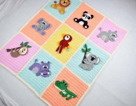 Crochet Jungle Animal Zoo Blanket by Passionatecrafter