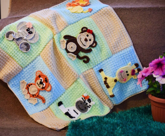 Jungle Series Animal Applique Crochet Animal Blanket Pattern by Passionatecrafter