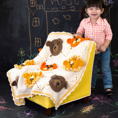 Red Heart Lions and Tigers and Bears Crochet Zoo Baby Blanket Free Pattern from Yarnspirations