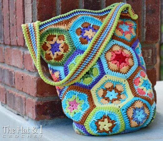 African Flower Shoulder Bag Crochet Pattern by The Hat And I