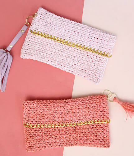 Chain Edge Raffia Crochet Clutch Pattern by Persia Lou