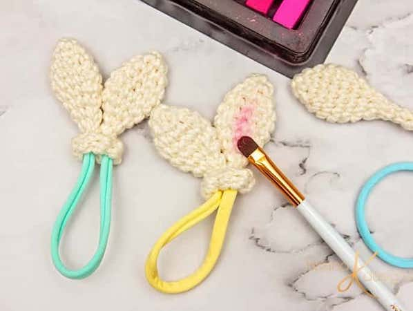 Crochet Bunny Ear Hair Ties Pattern by Briana K Designs