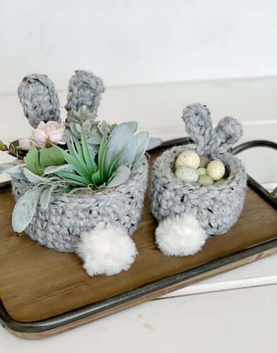 Crochet Bunny Ears Basket Pattern by Simply Made By Erin