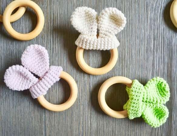 Crochet Bunny Ears Teether Pattern by Yarn Society