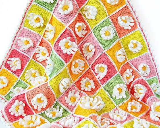 Crochet Daisy Blanket Pattern by Dada's Place