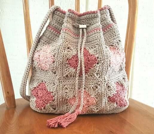 Crochet Drawstring Shoulder Bag Pattern by Kathy's Crochet Closet