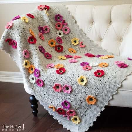 Throw Flower Crochet Blanket Pattern by The Hat And I
