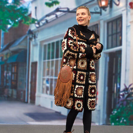 Crochet Granny Square Cardigan Pattern by Red Heart