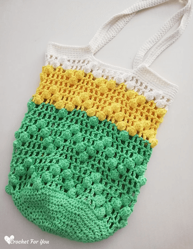 Crochet Lace And Popcorn Bag Pattern by Crochet For You
