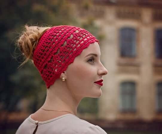 Crochet Lace Messy Bun Hat Pattern by It Was Yarn