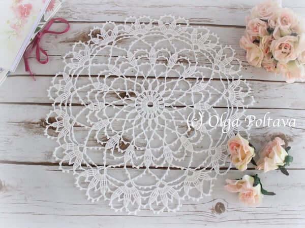 Crochet Lace Round Doily Pattern by Olga Poltava