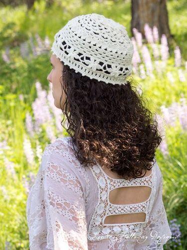 Crochet Lace Summer Hat Pattern by Kirsten Holloway Designs