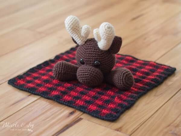 Crochet Plaid Moose Lovey Pattern by Whistle And Ivy