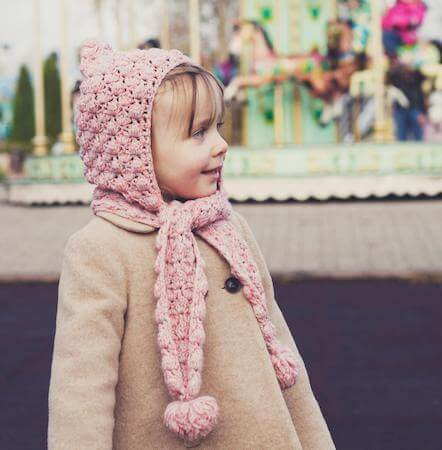 Crochet Scarf With Hoodie Pattern by Mon Petit Violon