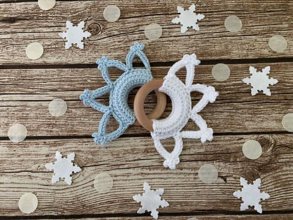 Crochet Snowflake Teething Ring Pattern by Adele Daisy Crochet
