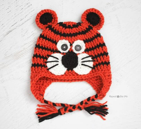 Crochet Tiger Hat Pattern by Repeat Crafter Me