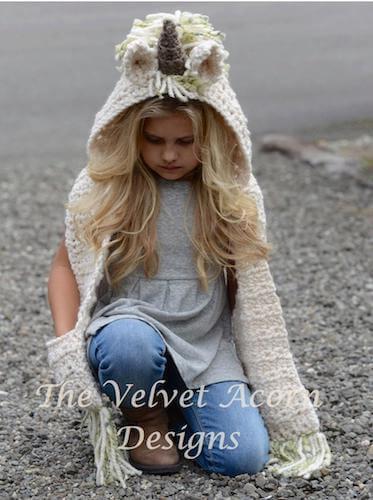 Crochet Unicorn Hooded Scarf Pattern by The Velvet Acorn